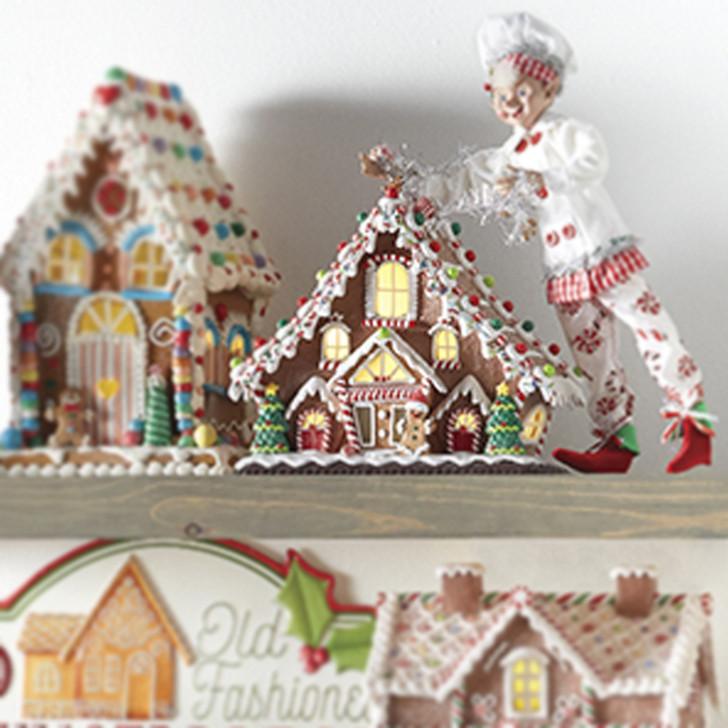 "Raz 11.5""  LED Lighted Gingerbread Lodge House Christmas Figure 4016098"