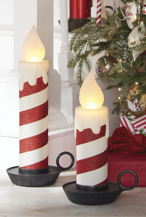 "Raz 17.5"" or 22.5"" Battery Operated LED Lighted Glittered Candy Cane Stripes Candle Christmas Figure"