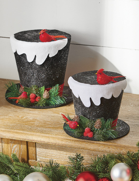 Raz Snowy Top Hat with Holly and Cardinal Christmas Figure Ornament