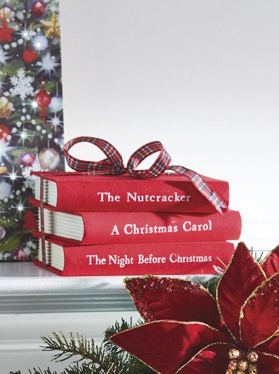"Raz 8"" Red Stacked Books Christmas Decoration 4016232"