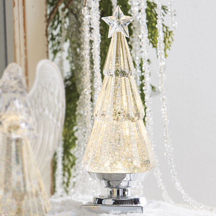 """Raz 11.75"""" LED Lighted Christmas Tree Water Globe with Silver Glitter 4016313"""