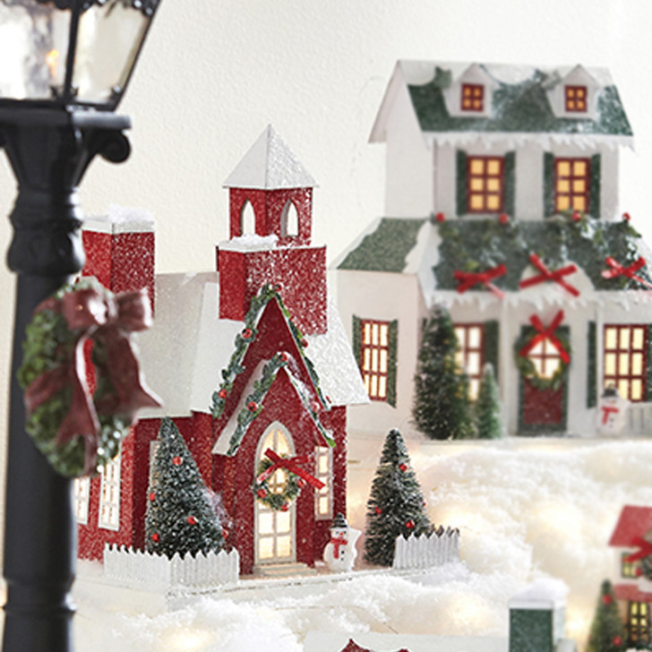 "Raz 11.25"" Battery Operated Lighted Church Christmas House 4019067"