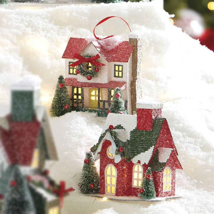 """Raz 4.65"""" Battery Operated Lighted Putz House Christmas Ornament 4019068"""