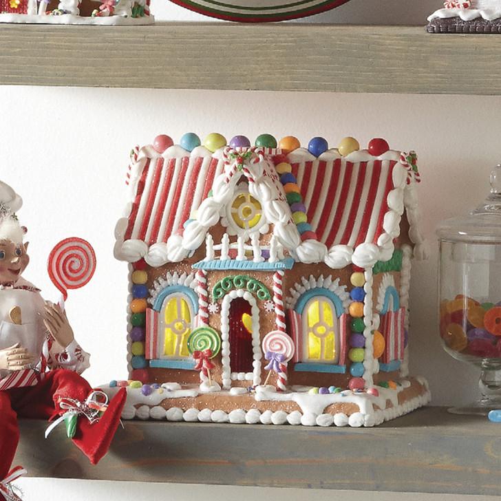 """Raz 11"""" LED Lighted Rainbow Candy Christmas Gingerbread House 4019083"""