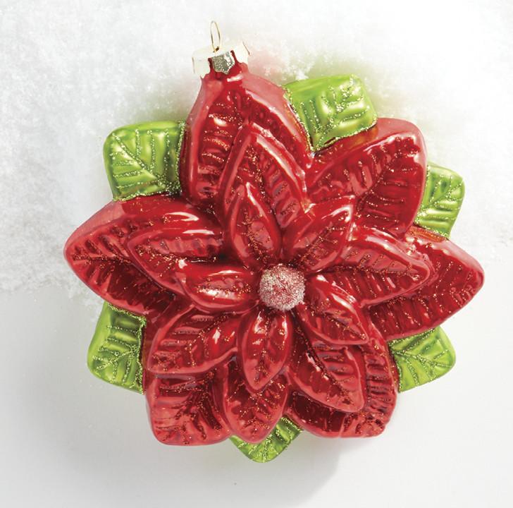 """Raz 6.5"""" Red Glitter Poinsettia Glass Christmas Ornament 4019189"""