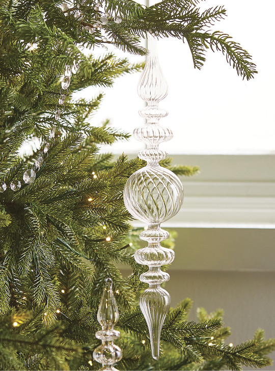 "Raz 17"" Swirl Clear Glass Finial Christmas Ornament 4022817"