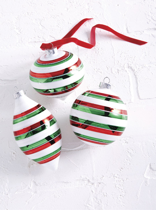 "Raz 6"" Red, White, and Green Striped Glass Christmas Ornament 4022856"