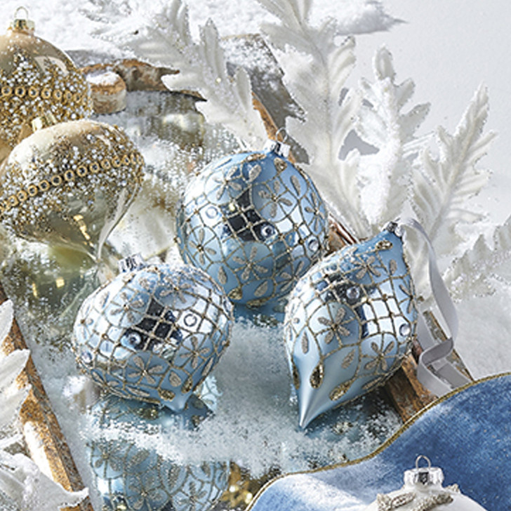 "Raz 6"" Blue and Gold Jeweled Glass Christmas Ornament 4022873"