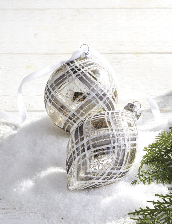 "Raz 5.5"" Silver and White Plaid Mercury Glass Christmas Ornament 4024585"