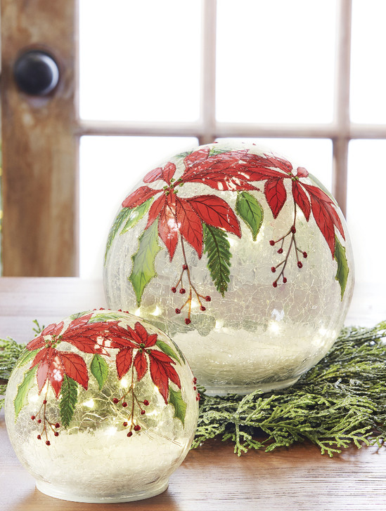 Raz Battery Operated LED Lighted Poinsettia Glass Ball Christmas Decoration 4024601