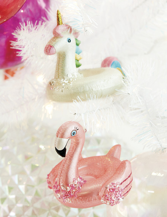 "Raz 4.25"" Pool Float Unicorn or Flamingo Glass Christmas Ornament 4052881"