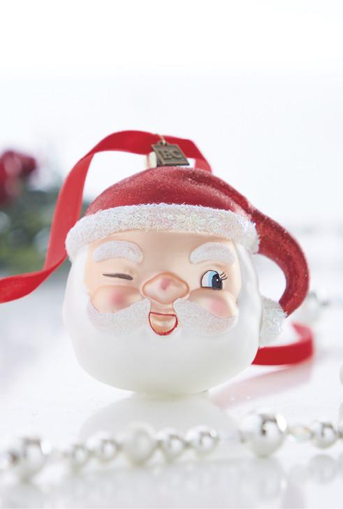 """Raz 4"""" Winking Santa Glass Christmas Ornament 4053132"""