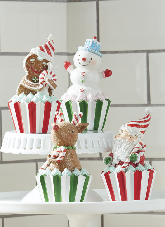 "Raz 5.25"" Holiday Figure Cupcake Christmas Decoration 4057854"