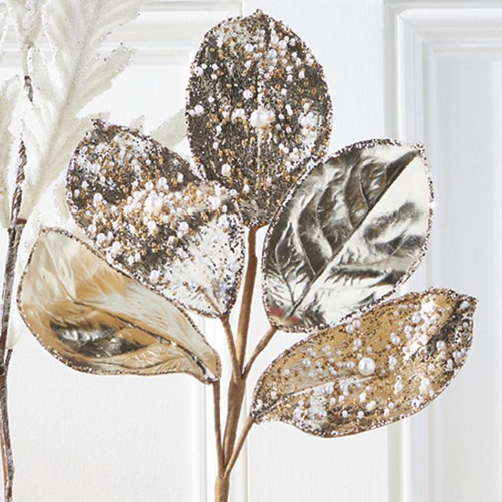 """Raz 23"""" Bead and Pearl Jeweled Magnolia Leaf Stem Christmas Pick F4006721"""