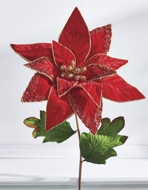 "Raz 25.5"" Beaded Poinsettia Christmas Stem Pick F4026054"