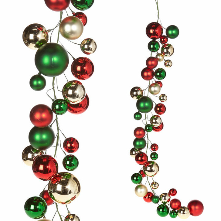 Raz 4' Red, Gold, and Red Ball Christmas Garland G3832768