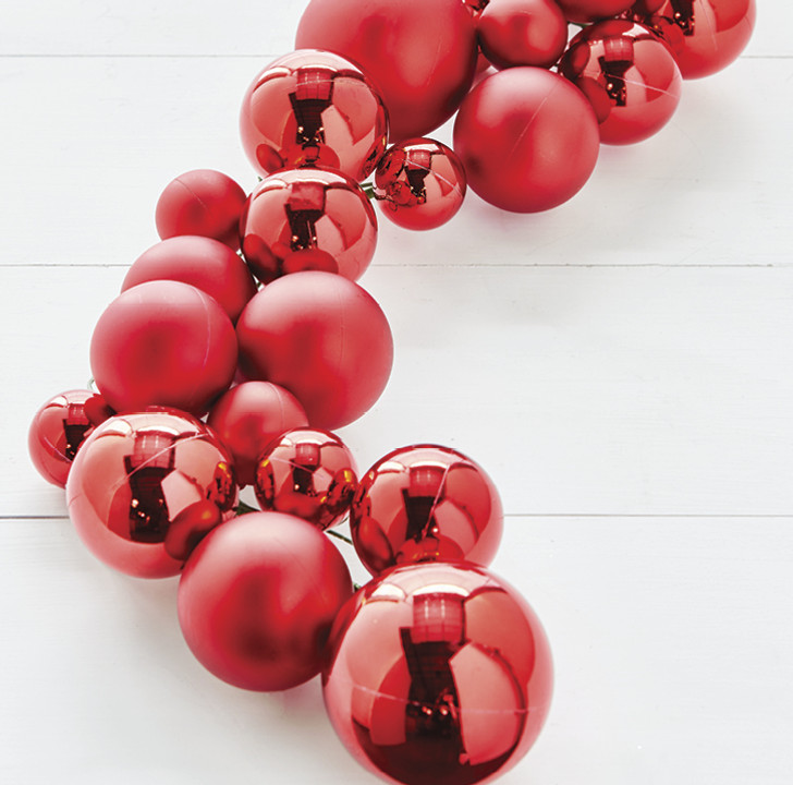 Raz 4' Red Ball Christmas Garland G3832771