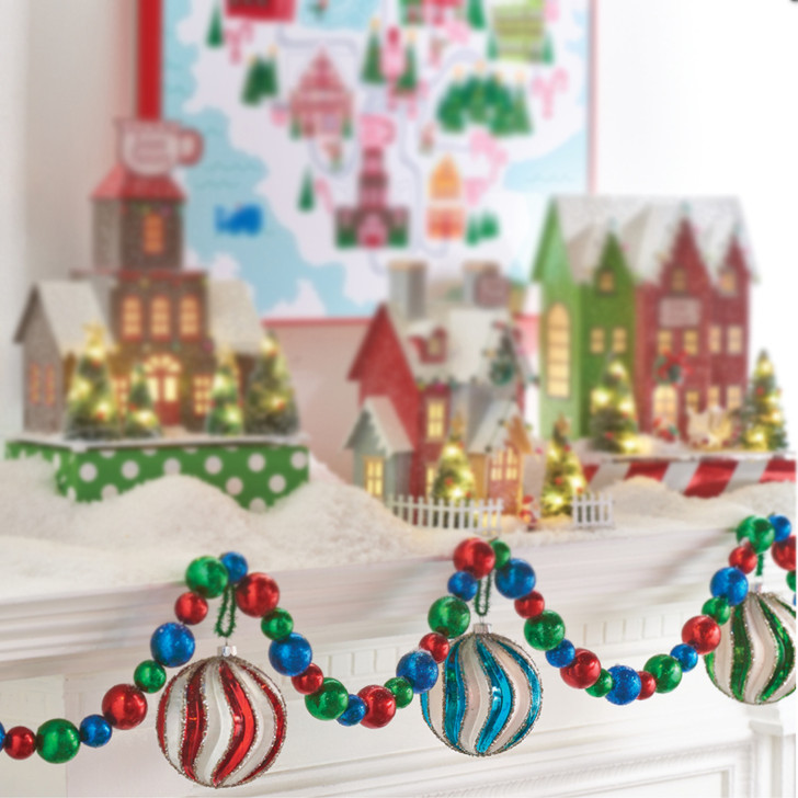 Raz 6' Blue, Red, and Green Christmas Tree Garland G4002370