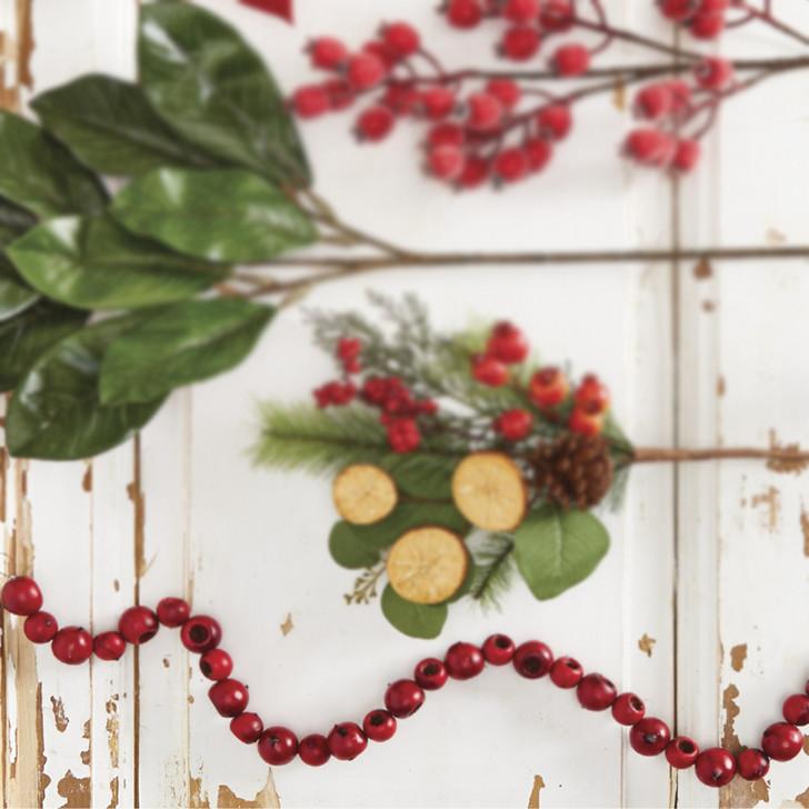 Raz 4' Red Crab Apple Christmas Tree Garland G4006675