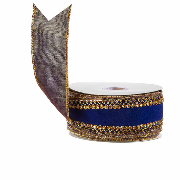 "Raz 2.5"" Blue and Gold Embroidered Wired Christmas Ribbon R4027791"