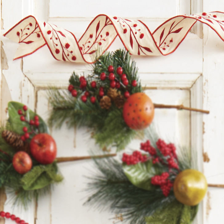 """Raz 2.5"""" Red and Tan Embroidered Wired Christmas Ribbon R4027803"""