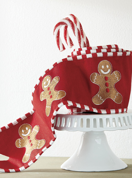 "Raz 4"" Gingerbread Embroidered Wired Christmas Ribbon R4071750"