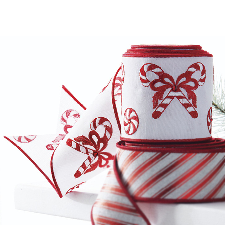 """Raz 4"""" Red and White Embroidered Candy Cane Wired Christmas Ribbon R4071751"""