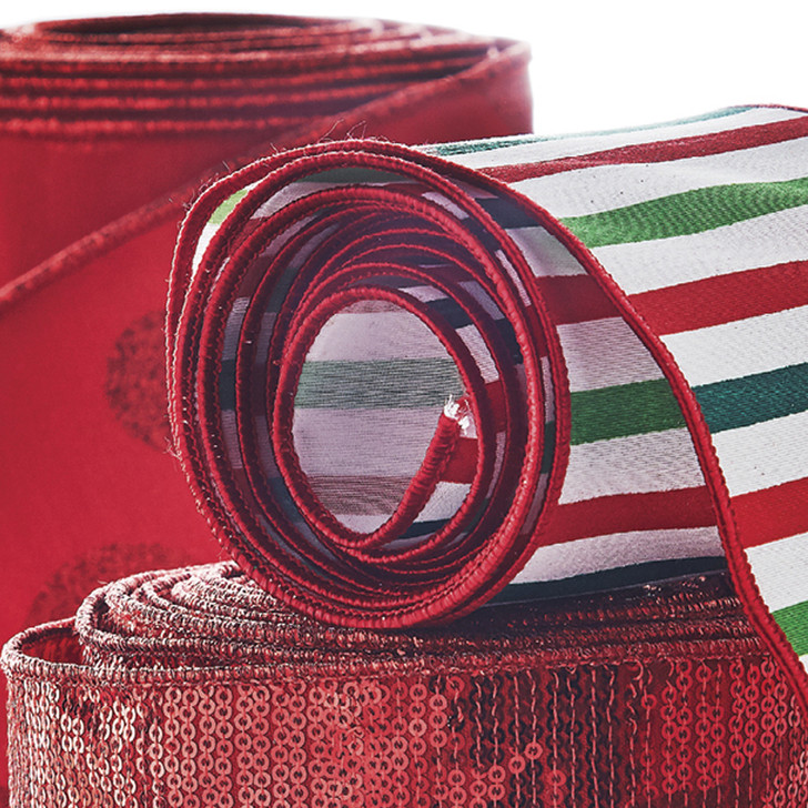 """Raz 4"""" Red and Green Striped Wired Christmas Ribbon R4071765"""