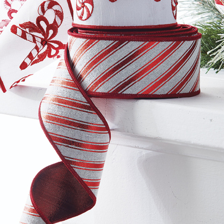 """Raz 2.5"""" Red and White Striped Wired Christmas Ribbon R4071775"""