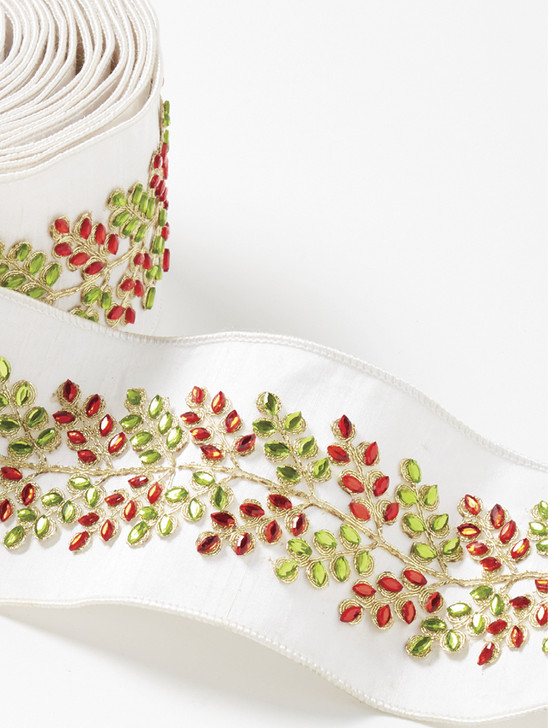 """Raz 4"""" Red and Green Jeweled Leaf Wired Christmas Ribbon R4071859"""