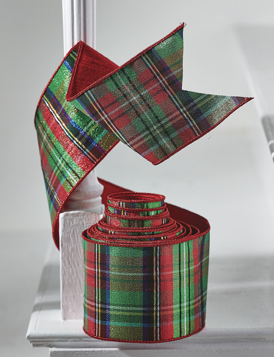 "Raz 4"" Red and Green Metallic Plaid Wired Christmas Ribbon R4071861"