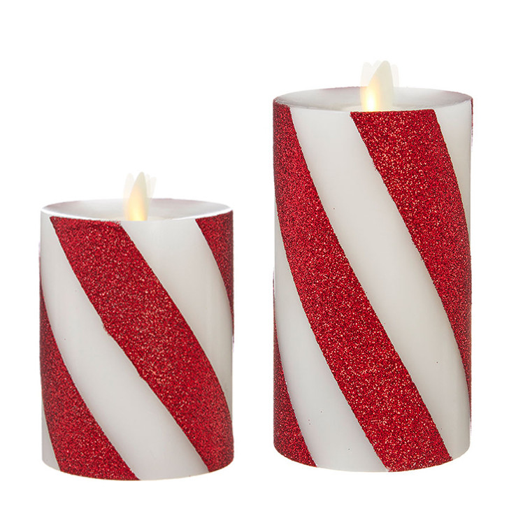 """Liown 4"""" or 6"""" Red and White Striped Unscented Pillar Battery Candle"""