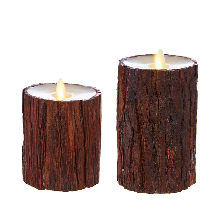 """Liown 4"""" or 6"""" Cedar Wrapped Moving Flame Unscented Pillar Battery Candle"""