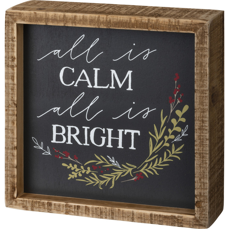 """Primitives By Kathy 6"""" All Is Calm Wooden Box Christmas Sign 106592"""