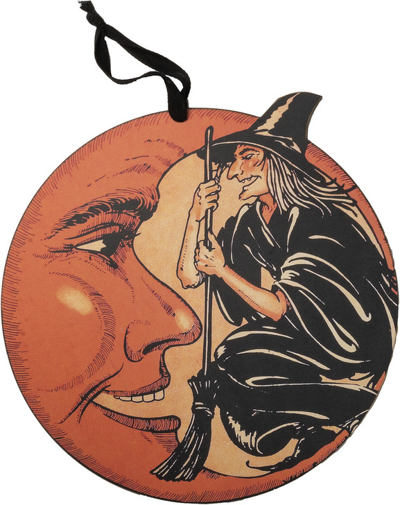 """Primitives By Kathy 14"""" Witch Moon Halloween Sign 95400"""