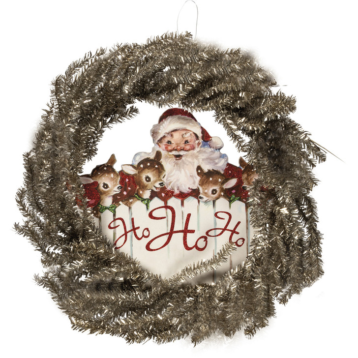 "Primitives By Kathy 24"" Silver Tinsel Ho Ho Ho Christmas Wreath 105054"