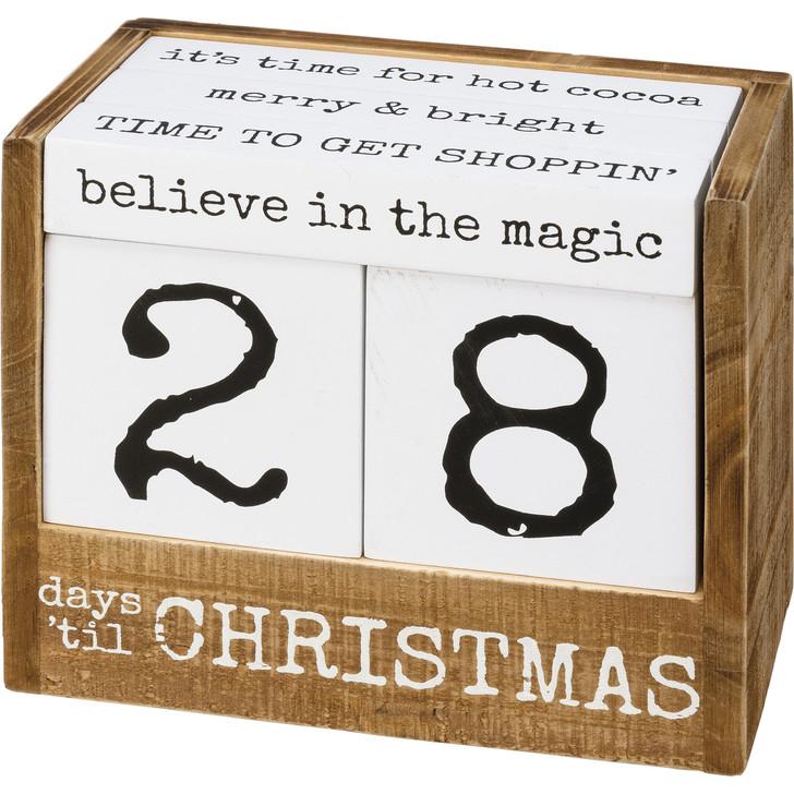 "Primitive By Kathy 6.5"" Days Til Christmas Block Countdown Advent Calendar 106798"