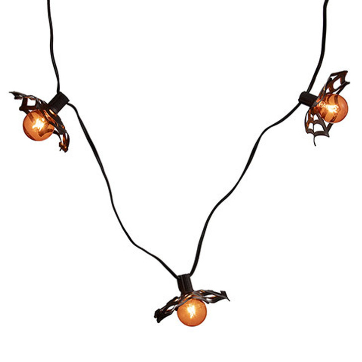 Orange G40 Bulbs with Spiderweb Shade Halloween Light Strand 30061070