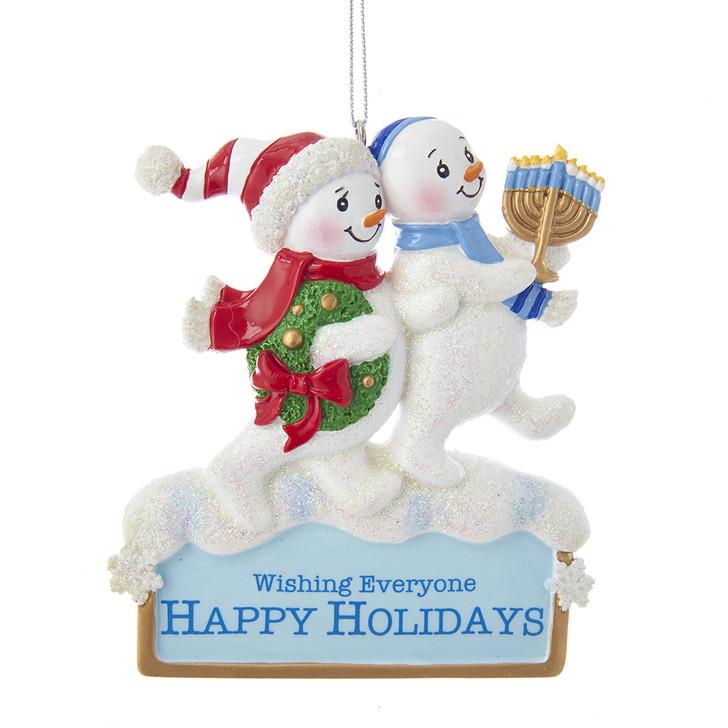 "Kurt Adler 4"" Happy Hanukkah Snowmen Christmas Ornament A1843"