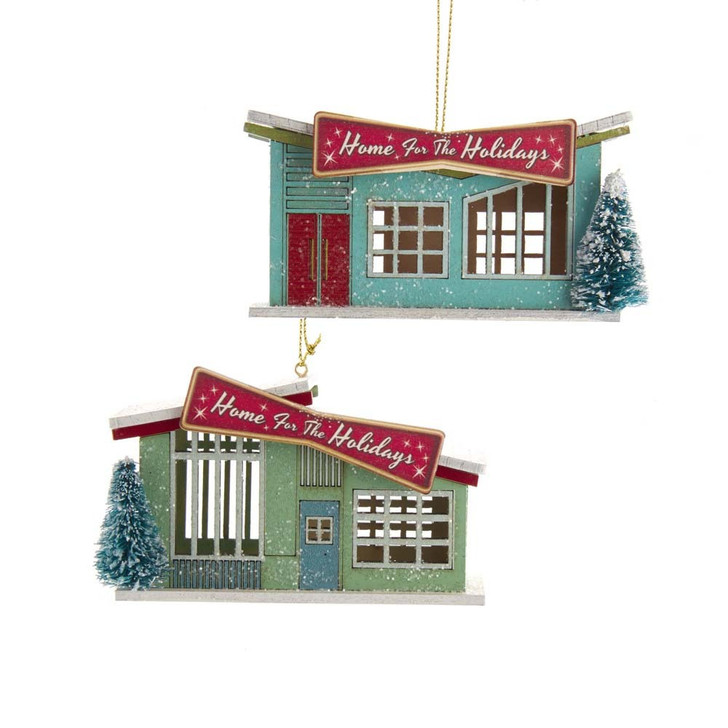 "Kurt Adler 4.25"" Wooden Mid-Century Modern House Christmas Ornament E0482"