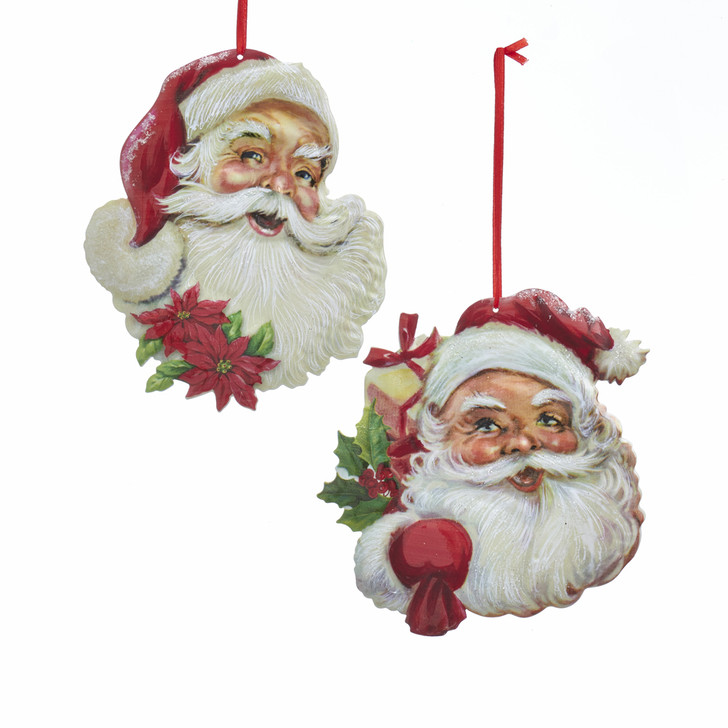 "Kurt Adler 5.5"" Metal Santa Face Christmas Ornament G0185"