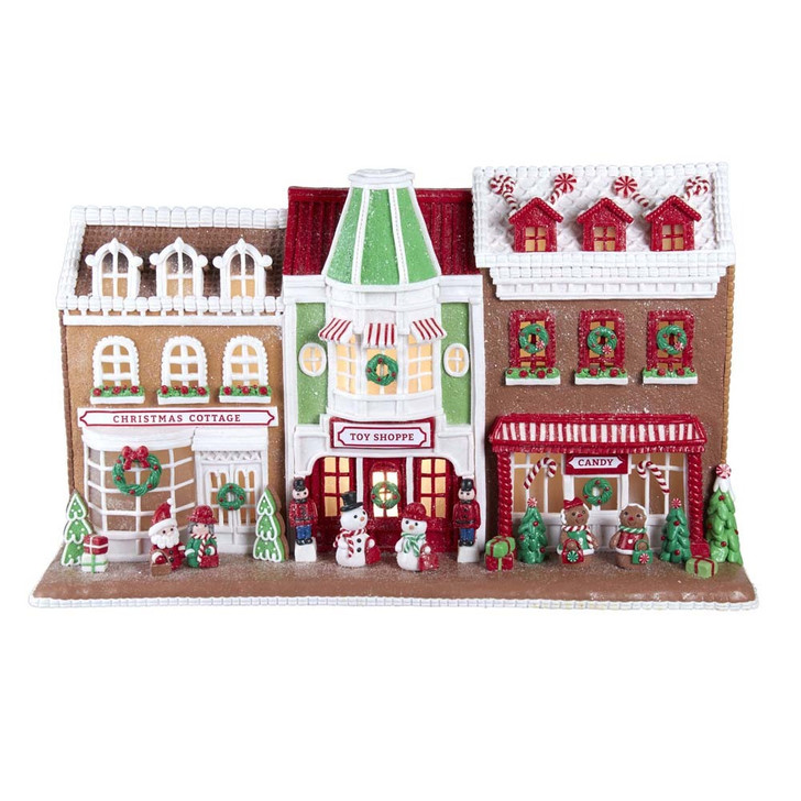"Kurt Adler 10"" LED Lighted Claydough Gingerbread House Village Stores GBJ0011"