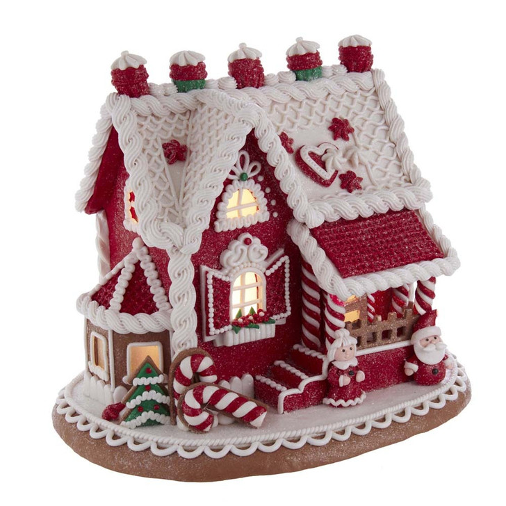 "Kurt Adler 9"" LED Lighted Santa and Mrs. Claus Red Claydough Gingerbread Christmas House GBJ0015"