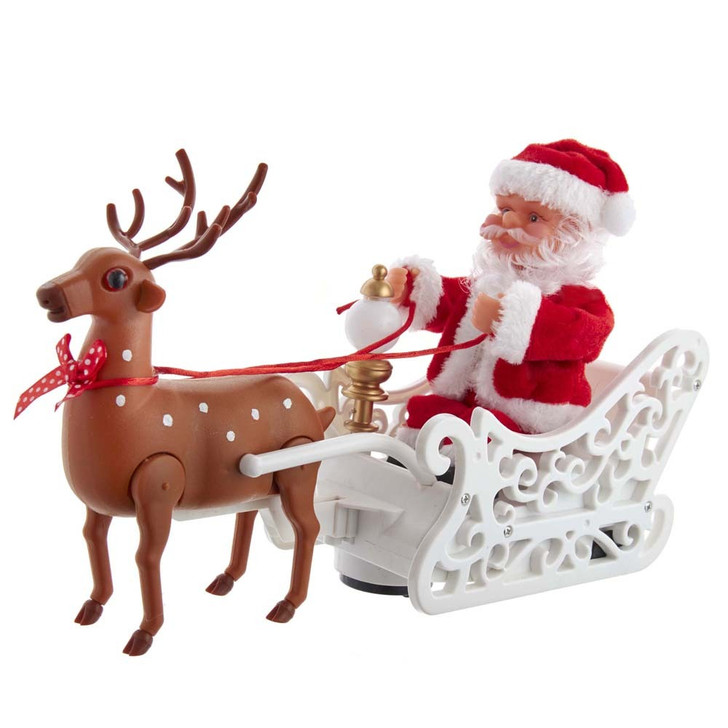 "Kurt Adler 12"" Battery Operated Animated Musical Santa with Sleigh Christma Figure JEL1408"