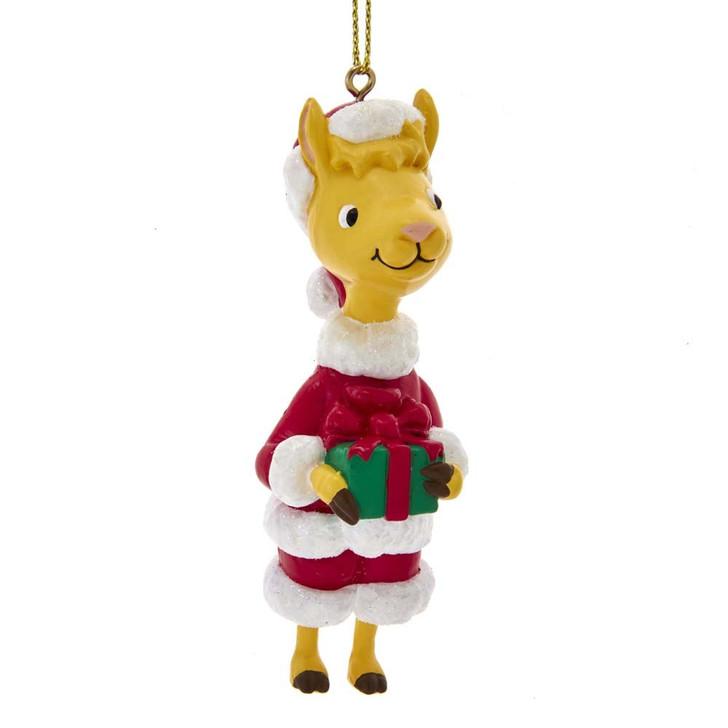 "Kurt Adler 3.5"" Llama Llama Red Pajama Santa Christmas Ornament LM1201"