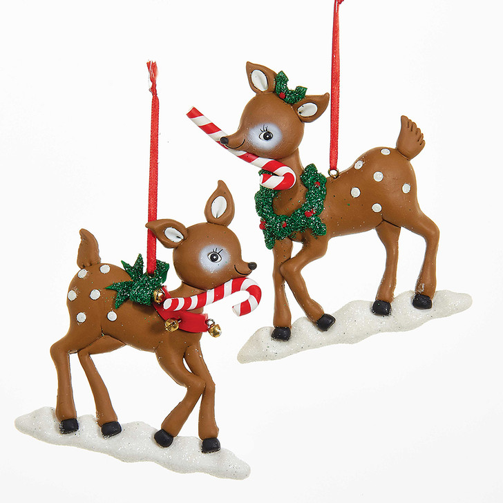 "Kurt Adler 5"" Claydough Reindeer with Candy Cane Christmas Ornament T1878"