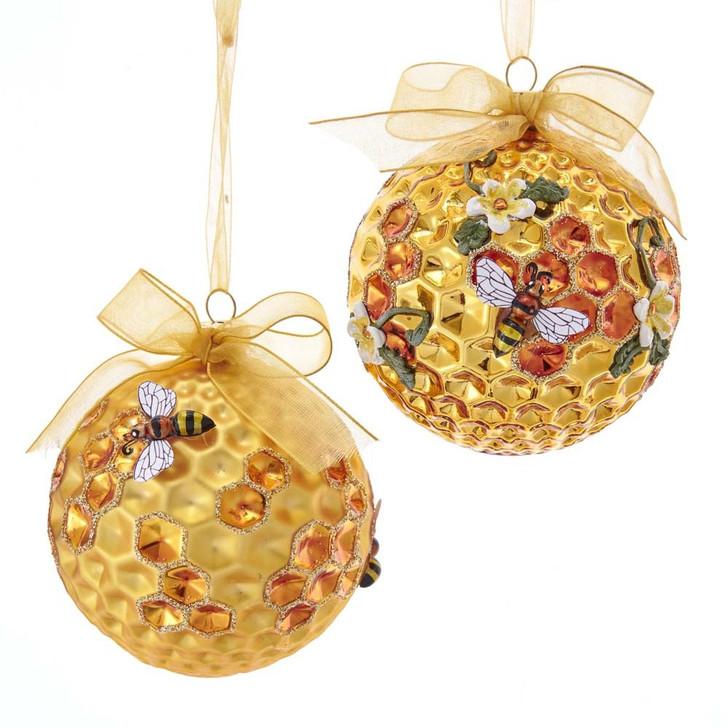 "Kurt Adler 3.5"" Gold Faceted Honeycomb Bee Glass Christmas Ornament T2702"