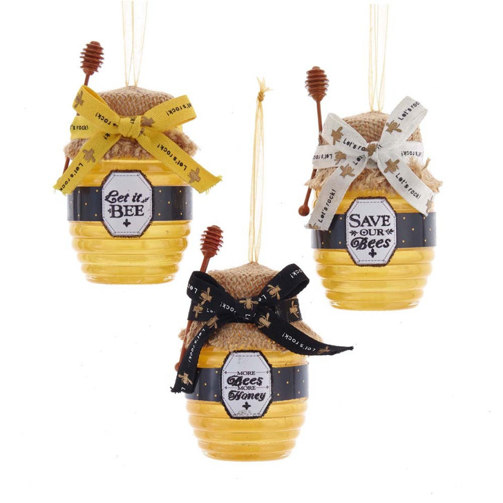 "Kurt Adler 4.25"" Honey Jar Christmas Ornament T2705"