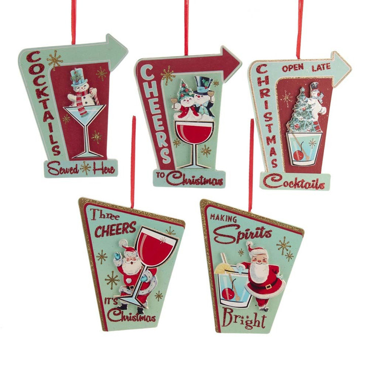 Kurt Adler Mid Century Cocktail Sign Christmas Ornament G0252