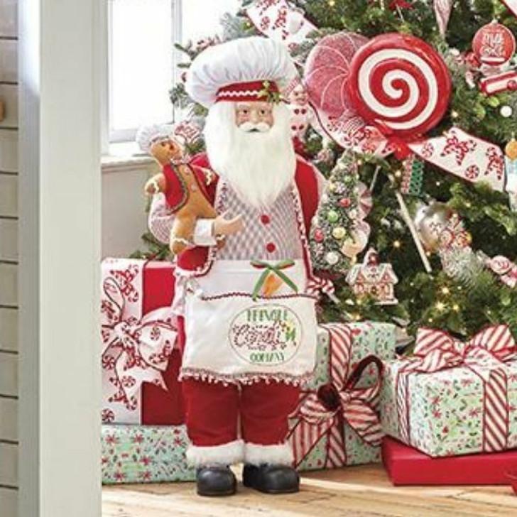 "Raz Imports 38.5"" Kringle Candy Santa with Apron Christmas Figure 4015534"